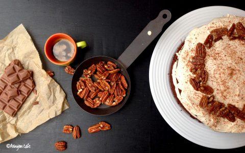 Mocha & pecan cake